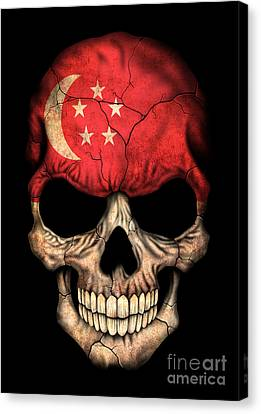 Dark Singapore Flag Skull Canvas Print by Jeff Bartels