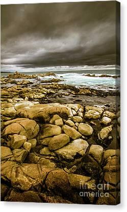 Dark Skies On Ocean Shores Canvas Print