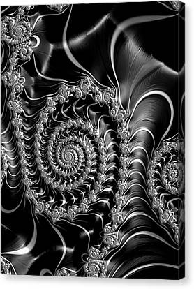 Canvas Print featuring the digital art Dark Spirals - Fractal Art Black Gray White by Matthias Hauser