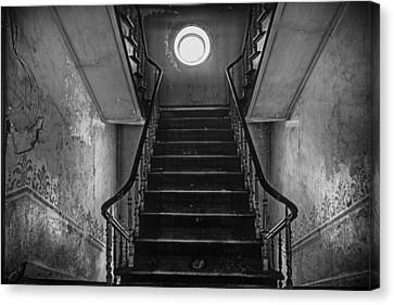 Dark Stairs To Attic - Urban Exploration Canvas Print by Dirk Ercken