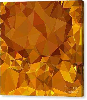 Dark Tangerine Yellow Abstract Low Polygon Background Canvas Print