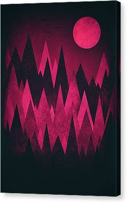 Dark Triangles - Peak Woods Abstract Grunge Mountains Design In Red Black Canvas Print by Philipp Rietz