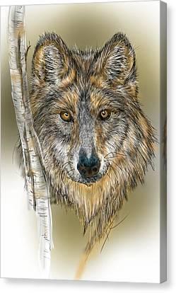 Canvas Print featuring the digital art Dark Wolf With Birch by Darren Cannell