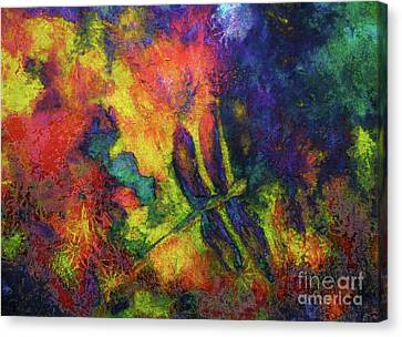 Canvas Print featuring the painting Darling Darker Dragonfly by Claire Bull