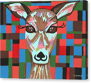 Canvas Print featuring the painting Darling Deer by Kathleen Sartoris