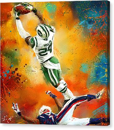 Darrelle Revis Action Shot Canvas Print by Lourry Legarde