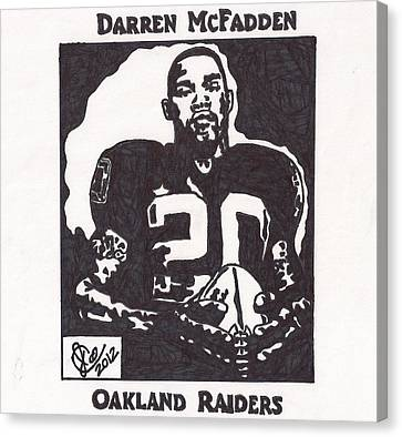Canvas Print featuring the drawing Darren Mcfadden 2 by Jeremiah Colley