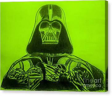 Darth Vader Rogue One - Green Background Canvas Print by Scott D Van Osdol