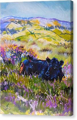 Dartmoor Cow Landscape Painting Canvas Print