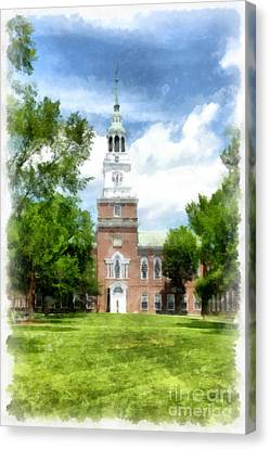 Dartmouth College Watercolor Canvas Print by Edward Fielding