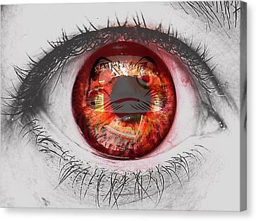 Daruma Eye Canvas Print by Pamela Larson