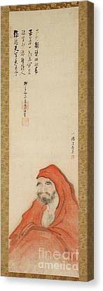 Daruma In A Red Robe Canvas Print by Celestial Images