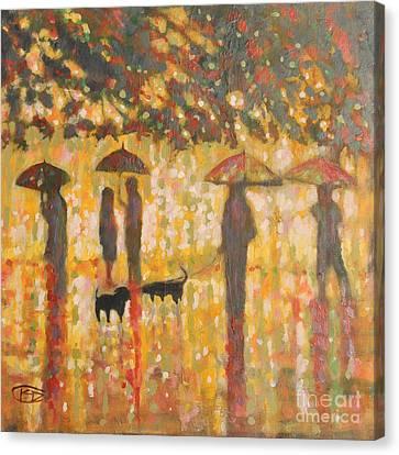Daschunds In The Rain Canvas Print by Kip Decker