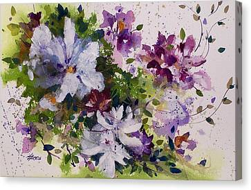 Canvas Print featuring the painting Dash Of White by Helen Harris