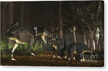 Four Animal Faces Canvas Print - Daspletosaurus Confronts A Family by Arthur Dorety