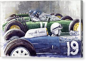 Datch Gp 1962 Lola Brm Lotus Canvas Print by Yuriy  Shevchuk
