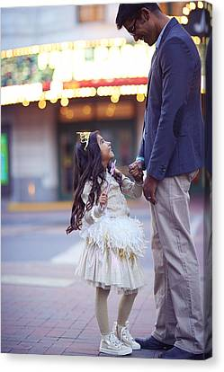 Daughter Smiling At Her Father On Urban Canvas Print