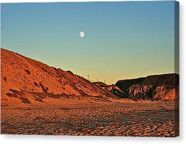 Davenport Dunes Sunset Moonrise Canvas Print by Larry Darnell