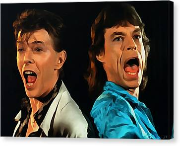David Bowie And Mick Jagger Canvas Print by Sergey Lukashin