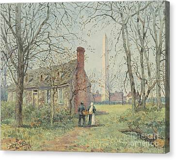 David Burns's Cottage And The Washington Monument, Washington Dc, 1892  Canvas Print