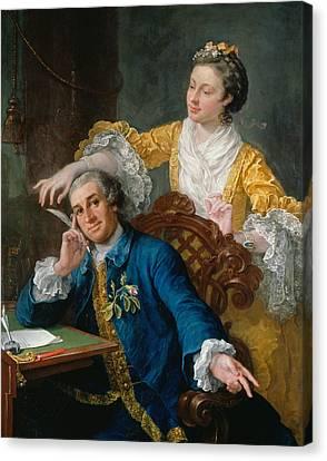 Hogarth Canvas Print - David Garrick With His Wife Eva-maria Veigel by William Hogarth