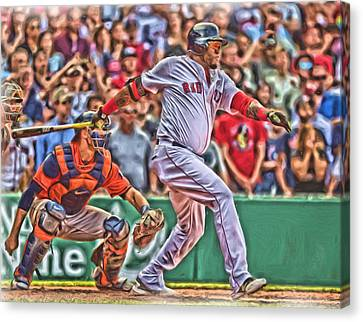 David Ortiz Boston Red Sox Oil Art 1 Canvas Print by Joe Hamilton