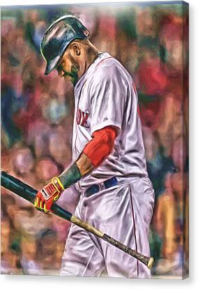 Baseball Stadiums Canvas Print - David Ortiz Boston Red Sox Oil Art 4 by Joe Hamilton