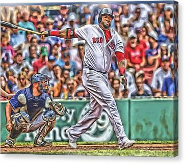 Baseball Stadiums Canvas Print - David Ortiz Boston Red Sox Oil Art 5 by Joe Hamilton