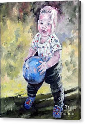 David With His Blue Ball Canvas Print
