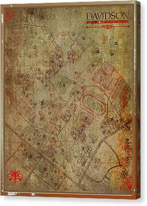 Davidson College Map Canvas Print