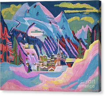 Vivid Colour Canvas Print - Davos In Winter by Ernst Ludwig Kirchner