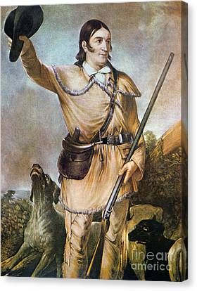 Davy Crockett With His Hunting Dogs In 1836 Canvas Print by American School