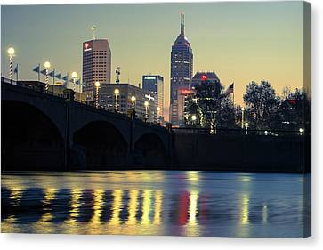 White River Scene Canvas Print - Dawn Along The White River - Indianapolis Skyline by Gregory Ballos
