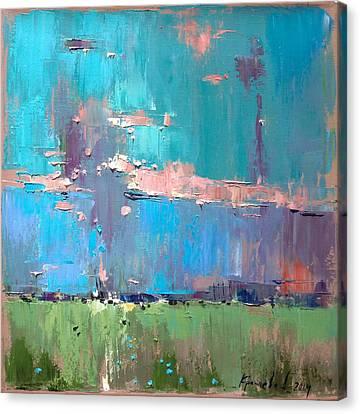 Canvas Print featuring the painting Dawn by Anastasija Kraineva