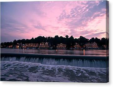 Row Boat Canvas Print - Dawn At Boathouse Row by Bill Cannon