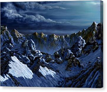 Canvas Print featuring the digital art Dawn At Eagle's Peak by Curtiss Shaffer