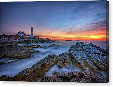 Dawn At Portland Head Lighthouse Canvas Print by Rick Berk