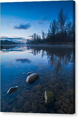 Dawn At River Canvas Print by Davorin Mance