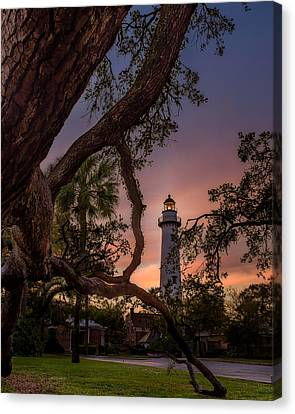 Dawn At Saint Simons Lighthouse Canvas Print by Chris Bordeleau