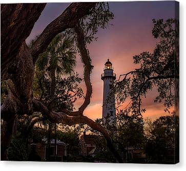 Dawn At Saint Simons Lighthouse - Horizontal Canvas Print by Chris Bordeleau
