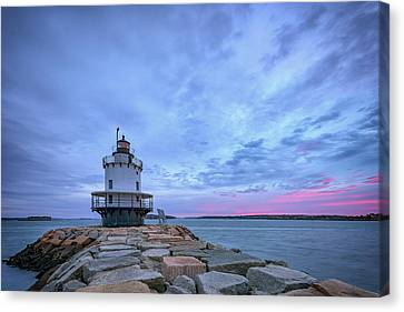 New England Lighthouse Canvas Print - Dawn At Spring Point Ledge Lighthouse by Rick Berk