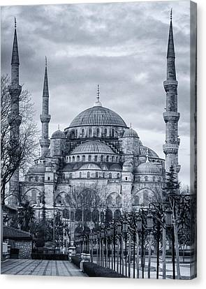 Islam Canvas Print - Dawn At The Blue Mosque by Joan Carroll