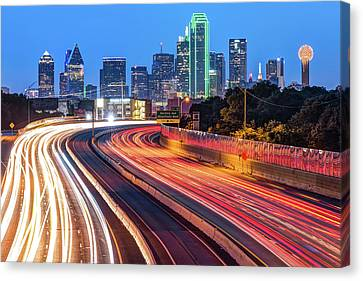 Canvas Print featuring the photograph Dawn At The Dallas Skyline - Texas Cityscape by Gregory Ballos