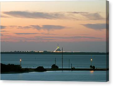 Dawn At The Sunshine Skyway Bridge Viewed From Tierra Verde Florida Canvas Print by Mal Bray