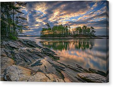 Dawn At Wolfe's Neck Woods Canvas Print by Rick Berk