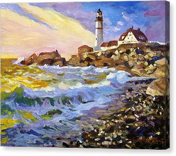 Dawn Breaks Cape Elizabeth Plein Air Canvas Print by David Lloyd Glover