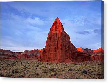 Canvas Print featuring the photograph Dawn Glow In Cathedral Valley. by Johnny Adolphson