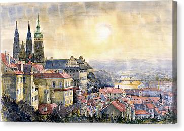 Dawn Of Prague Canvas Print by Yuriy  Shevchuk