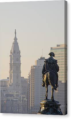 Dawn On The Benjamin Franklin Parkway Canvas Print