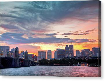 Dawn On The Charles River Canvas Print by Susan Cole Kelly